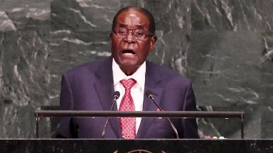 Robert Mugabe speaks at the United Nations in New York.