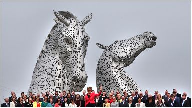 The Kelpies: SNP MPs standing in front of sculpture in 2016.