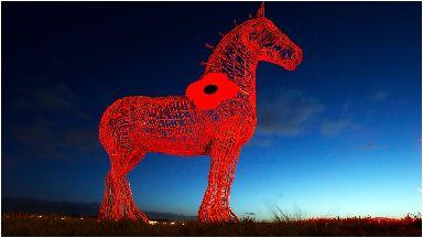 The Heavy Horse: Illuminated red to mark Scottish Poppy Appeal.