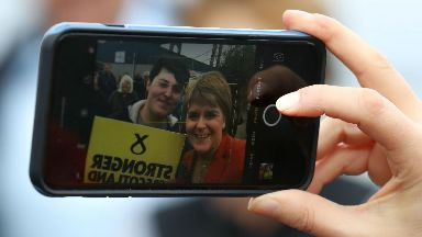 Selfie: Catching a photo with Nicola Sturgeon is a must for SNP activists.