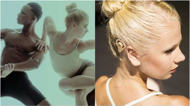 The airbrushed advert (left) and Simone with her hearing aid.