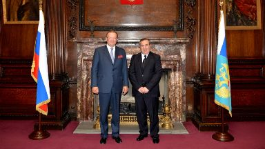 Embassy: Russian ambassador to the UK Alexander Vladimirovich Yakovenko (left) met Prof Mifsud in 2014.