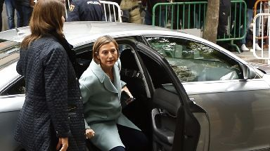 Ex-speaker of the Catalonia parliament Carme Forcadell arrives at court.