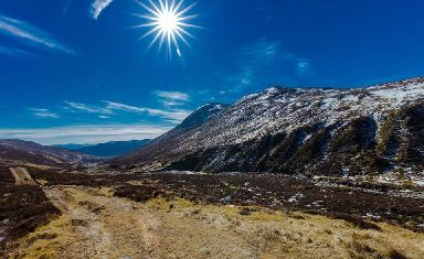 A stunning blue sky overlooking Creag Liath in the Cairngorms National Park.