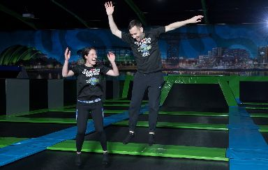 Bounce: Jennifer Reoch and David Farrell took part in a 12 hour Bounceathon challenge.