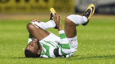 Olivier Ntcham lies stricken after picking up a knock.