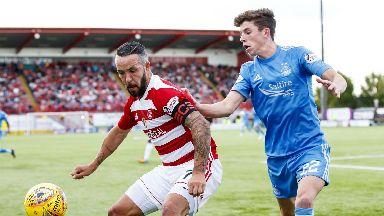 Hamilton's Dougie Imrie (left) shields the ball from Aberdeen's Ryan Christie