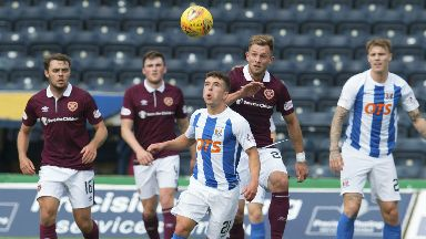 Adam Frizzell takes possession against Hearts