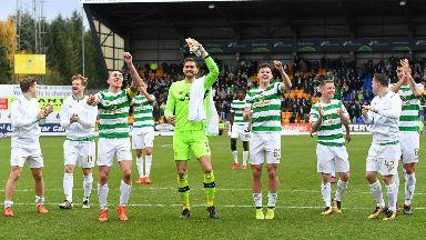 Celtic celebrate at full time in Perth.