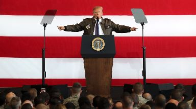 Donald Trump spoke at Yokota Air Base.