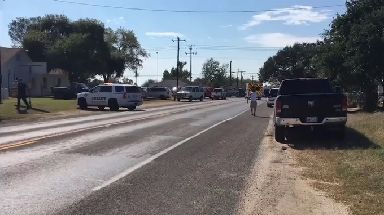 Emergency vehicles at the Sutherland Springs church