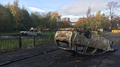 Attack: Cars were set on fire during Bonfire Night.