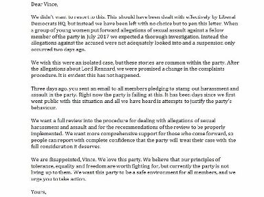 The letter written to Sir Vince Cable.