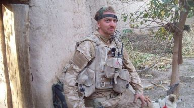 Former Royal Marine Rob French during his service in Afghanistan.