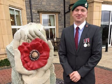 The ex-marine is now raising money for the Royal Marines and Royal British Legion.