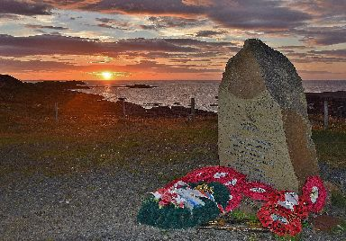 The sunset sets the scene for the memorial at Cove, Wester Ross.