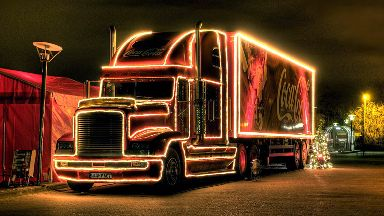 Coca-Cola: Christmas truck on its way to Glasgow.