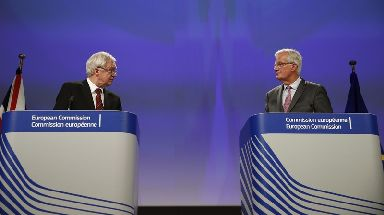Talks: David Davis (left) and Michel Barnier gave a joint press conference in Brussels.