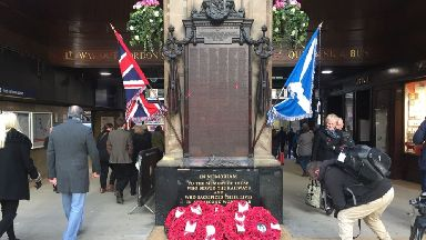 Glasgow: The day was marked at Glasgow Central.