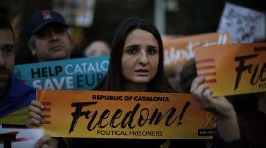 Pro-independence demonstrators in Barcelona.