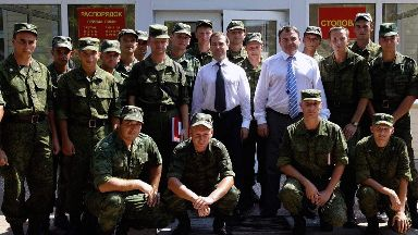 Dmitry Medvedev: Former Russian president meets Abkhaz troops in 2010.