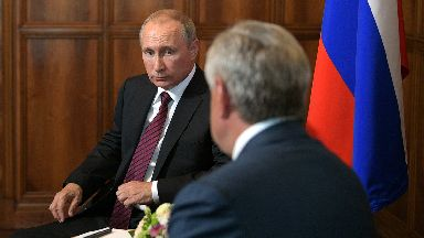 Allies: Vladimir Putin with Abkhaz president Raul Khadjimba.