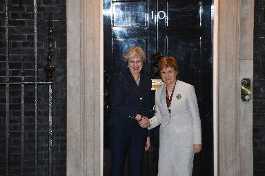 Downing Street: May greets Sturgeon in London ahead of talks.
