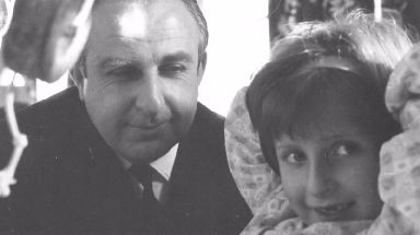 Paddington bear creator Michael Bond and his daughter Karen Jankel.