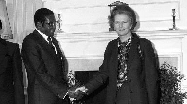 Robert Mugabe meets with Margaret Thatcher at Downing Street in 1982.