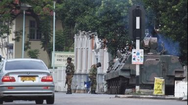 Military on the streets of Harare.