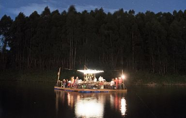 Dinner was served in the middle of a lake in Kenya.