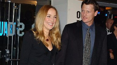 Model Jerry Hall pictured with Benedict Allen in 2003 at a charity film screening.