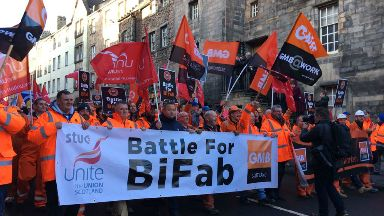Protest: BiFab workers march along the Royal Mile in Edinburgh.
