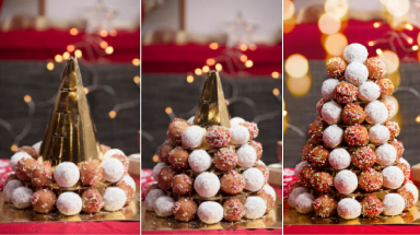 Timbit tree: Treats stacked on platforms around gold cone.