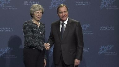 Talks: Theresa May with Swedish Prime Minister Stefan Lofven.