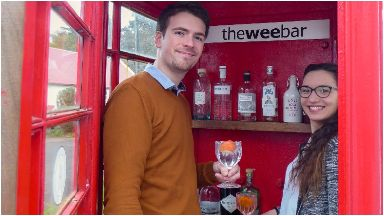 The Wee Bar: Jeremy and Charline Denise inside tiny bar.