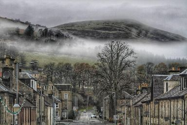 Mist over Langholm in Dumfries and Galloway.