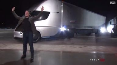 Elon Musk travelled to the unveiling in one of the Semi trucks.
