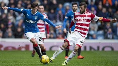Rangers' Emerson Hyndman and Hamilton's Massimo Donati vie for possession last season.