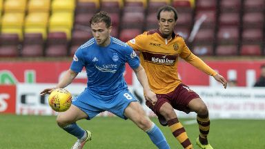 Aberdeen's Greg Stewart shields the ball from Motherwell's Charles Dunne.
