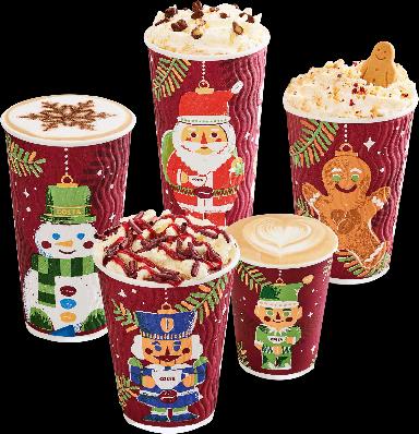 Traditional Christmas icons adorn Costa's cups this year.