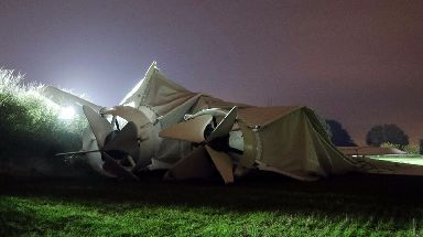 The hull of the aircraft ripped and deflated following the mishap