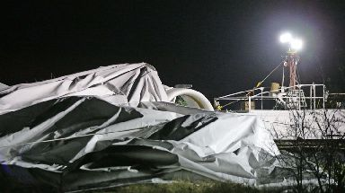 The craft was left collapsed at Cardington Airfield in Bedfordshire