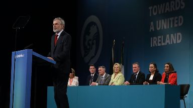 Gerry Adams addresses delegates at the Sinn Fein Ard Fheis in the RDS, Dublin