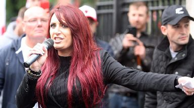 Jayda Fransen attending a rally in Belfast in August.