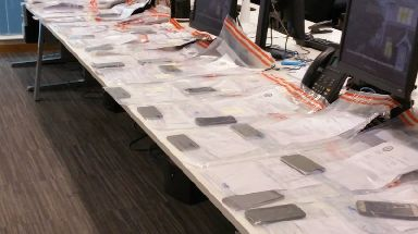 Just some of the 53 stolen phones.