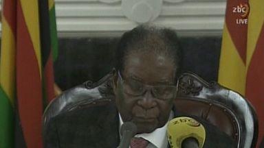 President Mugabe addresses Zimbabwe in a televised speech.