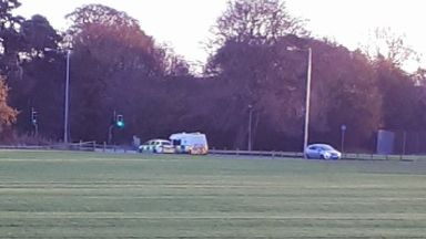 Dunnikier Woods: Route cordoned off by police.