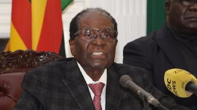 Robert Mugabe addresses the Zimbabwe in a televised address.