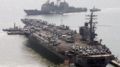 The US aircraft carrier USS Ronald Reagan.